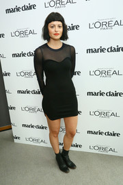 Sophia Amoruso was sexy-goth in a sheer-panel black mini dress during the Marie Claire Power Women Lunch.