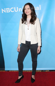 Jill Flint was casual on the red carpet in black skinny jeans during NBCUniversal's Summer Press Day.