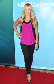 Jenn Brown teamed a fuchsia and black tank top with skinny jeans for NBCUniversal's Summer Press Day.