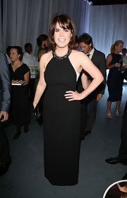 Princess Eugenie opted for a totally classic look at the Novak Djokovic Foundation Dinner when she wore this black column dress with a beaded halter neck.