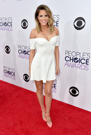 Stephanie Bauer showcased legs and shoulders in this white mini dress by Revolve Clothing at the People's Choice Awards.