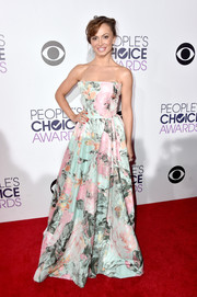 Karina Smirnoff went for ultra-feminine romance at the People's Choice Awards in a Michael Costello floral strapless gown.