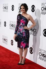 Lucy Hale looked very polished in a floral one-shoulder dress by Gabriela Cadena during the People's Choice Awards.