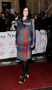 Alison wraps up in a darling blue and red wrap wool coat.