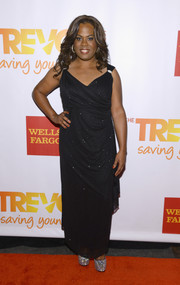 Tona Brown chose a draped black evening dress for her TrevorLive red carpet look.