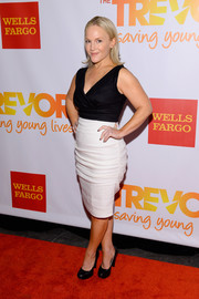 Rachael Harris showed some curves in a low-cut black-and-white cocktail dress during the TrevorLive NY event.