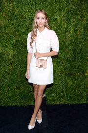 Harley Viera-Newton kept it conservative at the Tribeca Film Festival Artists Dinner in a white Chanel tweed mini buttoned all the way up.