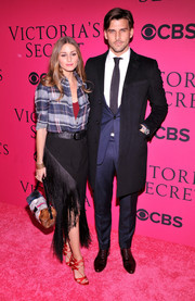 Olivia Palermo made a basic plaid button-down look oh-so-stylish during the Victoria's Secret fashion show.