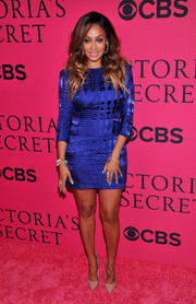 La La Anthony stepped out on the pink carpet in a royal-blue Balmain mini dress during the Victoria's Secret fashion show.