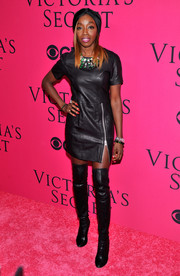 Estelle was rocker-chic in a black leather mini dress with zipper detail during the Victoria's Secret fashion show.