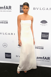 Chanel Iman went for no-frills sophistication in a white Calvin Klein evening dress during the amfAR New York Gala.