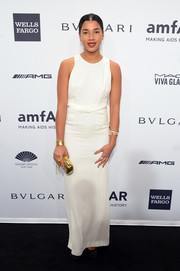 Hannah Bronfman was minimalist-chic in a sleeveless white column dress during the amfAR New York Gala.