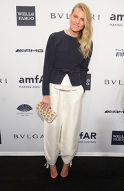 Dree Hemingway finished off her ensemble with an elegant beaded nude clutch.