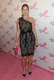 Aerin Lauder exuded classic sophistication in a one-shoulder lace-overlay dress during the Hot Pink Party.