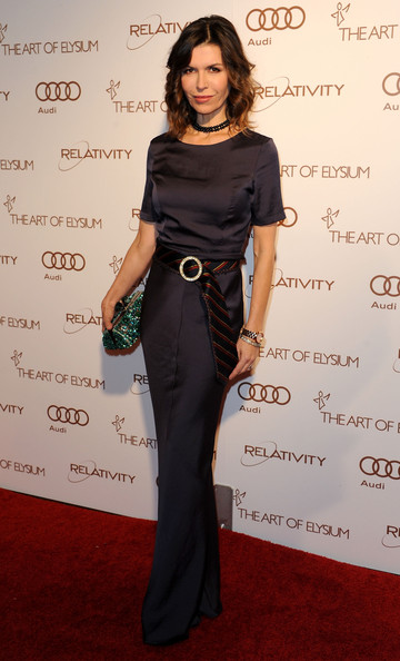 Finola Hughes wore a silk evening dress with a unique tie belt to the Art of Alysium Gala.
