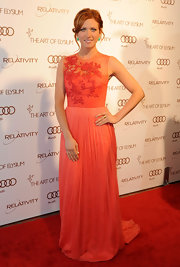 Brittany Snow wore a peach evening dress with an embroidered bodice to the Art of Alysium Gala.