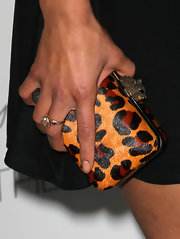 Jessica Szohr finished her look with a leopard print clutch. Check out that clasp!