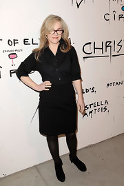 Rachael Harris opted for all black with a black pencil and black button down at the Pieces of Heaven event.