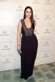 Michelle Trachtenberg looked enchanting at the Art of Elysium's Heaven Gala in a black Rebecca Taylor gown with a bedazzled bodice.