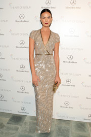 Odette Annable was a sight to behold at the Art of Elysium's Heaven Gala in a beaded silver column dress by Pamella Rolland.