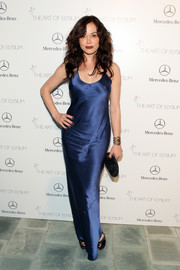 Rose McGowan looked sensual at the Art of Elysium's Heaven Gala in a slinky blue evening dress by Nili Lotan.
