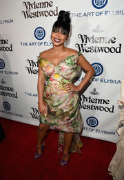 Christina Milian was flirty and feminine at the Heaven Gala in a colorful floral off-the-shoulder dress by Vivienne Westwood.