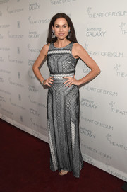 Minnie Driver attended the Art of Elysium Heaven Gala wearing a sleeveless gown that featured a stylish mix of patterns.