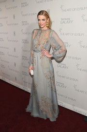 Jaime King looked exquisitely dainty at the Art of Elysium Heaven Gala in a pale-blue Valentino gown featuring an autumn-themed print.