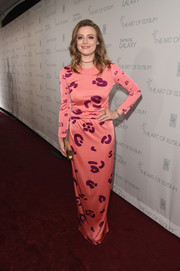 Gillian Jacobs went the playfully modern route in a salmon-pink print dress by Issa for her Art of Elysium Heaven Gala look.
