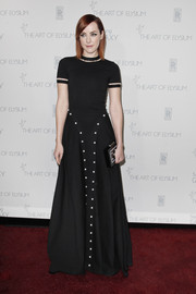 This pearl-accented black Adam Selman dress had a sporty feel on the runway, but on Jena Malone, it was pure elegance!