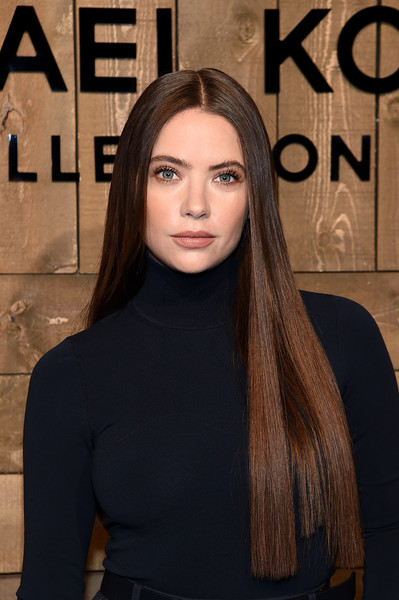 Ashley Benson Long Straight Cut [hair,face,hairstyle,beauty,eyebrow,head,lip,fashion,long hair,chin,ashley benson,hair,hairstyle,hair,front row,fashion,beauty,hair coloring,face,michael kors fw20 runway show,long hair,hair coloring,hairstyle,hair,fashion,bangs,layered hair,beauty,artificial hair integrations,black hair]