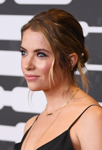 Ashley Benson Messy Updo [savage x fenty show,hair,hairstyle,face,chin,eyebrow,blond,beauty,shoulder,brown hair,long hair,video - arrivals,ashley benson,brooklyn,new york,barclays center,amazon prime]