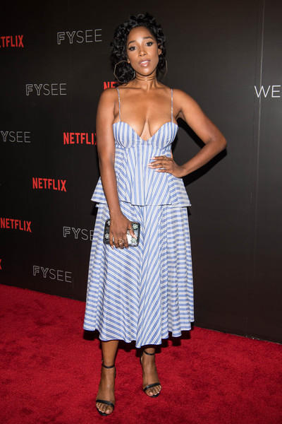 Ashley Blaine Featherson Beaded Clutch [dear white people,clothing,dress,red carpet,carpet,shoulder,fashion,cocktail dress,strapless dress,premiere,fashion model,arrivals,ashley blaine featherson,for your consideration,beverly hills,california,netflix,fyc,event,event]