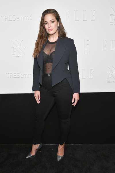 Ashley Graham Studded Heels [a celebration of personal style,suit,formal wear,blazer,fashion model,fashion,flooring,tuxedo,outerwear,fashion show,pantsuit,host,ashley graham,tresemme - arrivals,new york city,elle,e,nyfw kickoff party,tresemme]