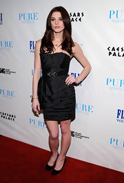 Ashley Green ecelebrated her birthday at Pure Nightclub in black patent pumps.