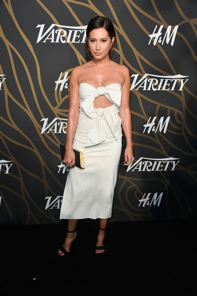 Ashley Tisdale Hard Case Clutch [clothing,dress,fashion model,shoulder,fashion,strapless dress,hairstyle,cocktail dress,premiere,event,variety power of young hollywood - arrivals,tao hollywood,los angeles,california,ashley tisdale]