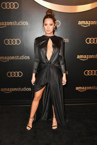 Ashley Tisdale Cutout Dress [flooring,fashion model,beauty,formal wear,little black dress,fashion,carpet,dress,shoulder,suit,arrivals,ashley tisdale,beverly hills,california,the beverly hilton hotel,amazon studios,amazon studios golden globes celebration]