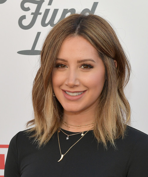 Ashley Tisdale Layered Gold Necklace [hair,face,hairstyle,eyebrow,blond,layered hair,chin,beauty,brown hair,long hair,steven tyler,live nation presents inaugural gala benefitting janie,fund - arrivals,ashley tisdale,california,los angeles,live nation,red studios,gala benefitting janies fund]