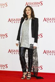 Black faux-leather maternity pants by Seraphine rounded out Marion Cotillard's rocker-glam ensemble.