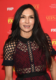 Famke Janssen wore her long hair down with just a slight wave at the New York screening of 'The Assassination of Gianni Versace: American Crime Story.'