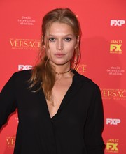 Toni Garrn sported a messy-sexy ponytail at the New York screening of 'The Assassination of Gianni Versace: American Crime Story.'