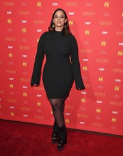 Dascha Polanco looked very alluring in a fitted black sweater dress at the New York screening of 'The Assassination of Gianni Versace: American Crime Story.'