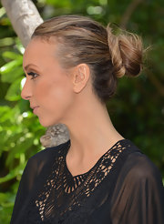 Giuliana Rancic pulled her hair back into a causal wrapped bun while attending a Mother's Day luncheon.