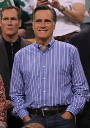Mitt Romney wore a striped blue button-down and jeans to the Atlanta Hawks versus Boston Celtics game.
