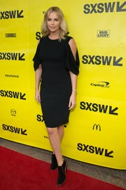 Charlize Theron joined the cold-shoulder trend with this Givenchy LBD at the SXSW premiere of 'Atomic Blonde.'