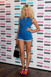 Pixie Lott kept it fun all the way down to her pink and orange Kat Maconie platform sandals.