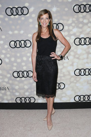 Allison Janney made a simple black tank top red carpet-worthy by pairing it with an elegant lace skirt during the Emmy kickoff party.