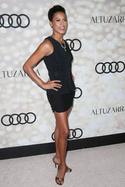 Kearran Giovanni showed plenty of leg in this super-short LBD during the Emmy kickoff party.