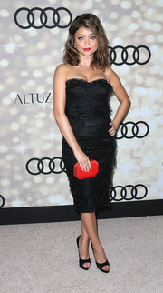 Sarah Hyland was all glammed up in a strapless black lace dress for the Emmy kick-off party.