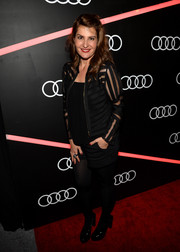 Nia Vardalos looked cute in her sheer-striped jacket and shorts at the Golden Globes Weekend celebration.